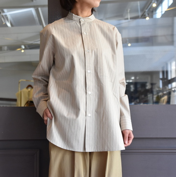CristaSeya(クリスタセヤ)/ STRIPED SILK AND COTTON MAO SHIRT #08DA-SC-BRS