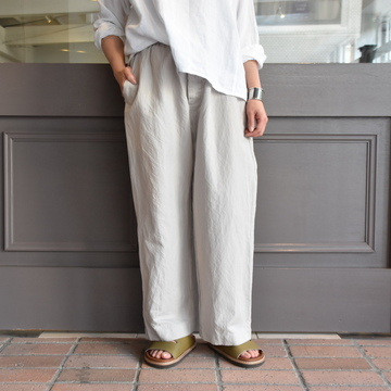 TOUJOURS(トゥジュー) Ramie*Cotton Chambray Twill Cloth Easy Trousers #KM34AP03
